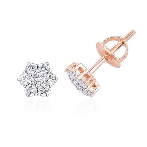 ILIANA 18K Rose Gold IGI Certified Diamond (Rnd) (SI G-H) Floral Stud Earrings (with Screw Back) 0.500 Ct.