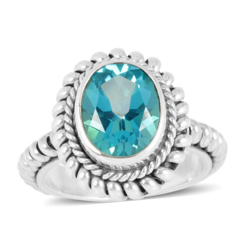 Royal Bali Collection Signity Paraiba Topaz (Ovl) Ring in Sterling Silver 4.510 Ct.