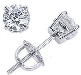 14K White Gold AGI Certified Diamond (Rnd) (I1/G-H) Stud Earrings (with Screw Back) 1.000 Ct.