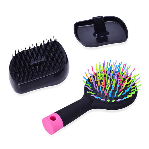 Set of 2 - Black Colour Styler and Pink Colour Rainbow Comb with Mirror