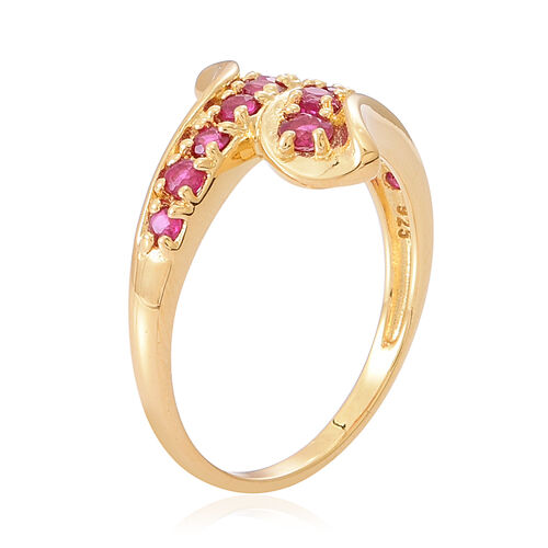 Burmese Ruby (Rnd) Crossover Ring in 14K Yellow Gold Overlay Sterling Silver 1.000 Ct.