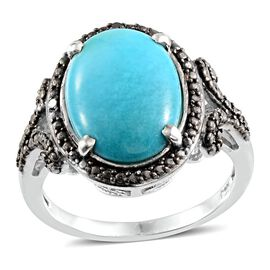 Arizona Sleeping Beauty Turquoise (Ovl 4.25 Ct), Black Diamond Ring in Platinum Overlay Sterling Silver 4.280 Ct.