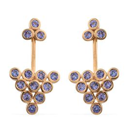 Tanzanite (Rnd) Earrings (with Push Back) in 14K Gold Overlay Sterling Silver 3.500 Ct.