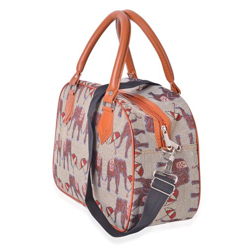 Spring Collection Beige and Multi Colour Elephant Tote Bag with Removable Shoulder Strap (Size 35x23x14cm)
