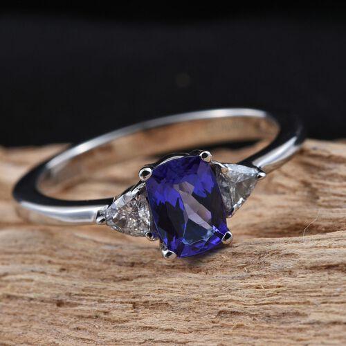 RHAPSODY 950 Platinum AAAA Tanzanite (Cush 0.75 Ct), Diamond (VS E-F) Ring 1.000 Ct.