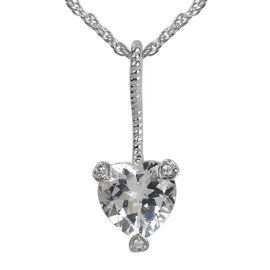 1.87 Ct White Topaz and Natural Cambodian Zircon Heart Pendant in Platinum Plated Silver