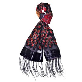 Designer Inspired - Black, Red and Multi Colour Peacock and Floral Pattern Scarf with Tassels (Size 158X50 Cm)