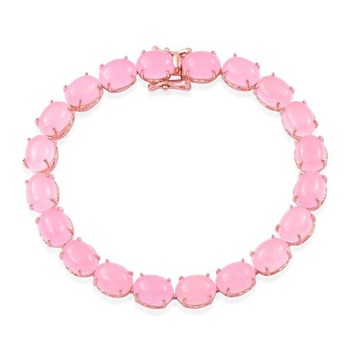 Pink Jade (Ovl) Bracelet (Size 7.5) in Rose Gold Overlay Sterling Silver 47.000 Ct.