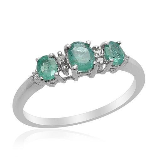 Kagem Zambian Emerald and Diamond Platinum Overlay Sterling Silver Ring  0.58 Ct.