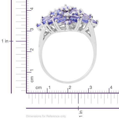 Limited Edition - AA Tanzanite Marquise Cluster Ring in Rhodium Plated Sterling Silver 4.500 Ct.35 Colour Matched Stones