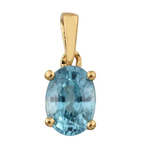 Blue Zircon Solitaire Pendant in Gold Plated Silver 1.25 Ct