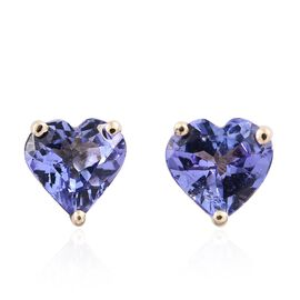 9K Yellow Gold 1.25 Ct AA Tanzanite Heart Solitaire Stud Earring (with Push Back)