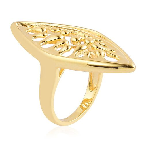 LucyQ Oval Wave Ring in Yellow Gold Overlay Sterling Silver 7.35 Gms.