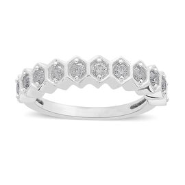 9K White Gold 0.50 Ct Diamond Half Eternity Ring SGL Certified (I3/G-H)