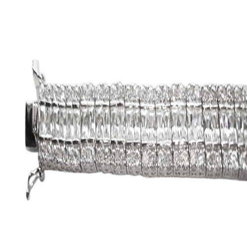 ELANZA AAA Simulated Diamond (Bgt) Bracelet (Size 7.5) in Rhodium Plated Sterling Silver Wt 43.89 Grams