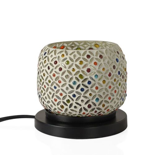 Option-1 New Arrival - Handcrafted White and Multi Colour Mosaic Electric Lamp with NATURAL HIMALAYAN ROCK SALT