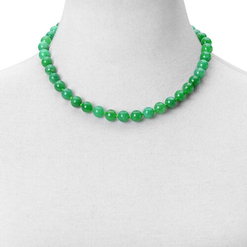 Green Jade Beads Necklace (Size 18) with Magnetic Clasp in Rhodium Plated Sterling Silver 320.00 Ct