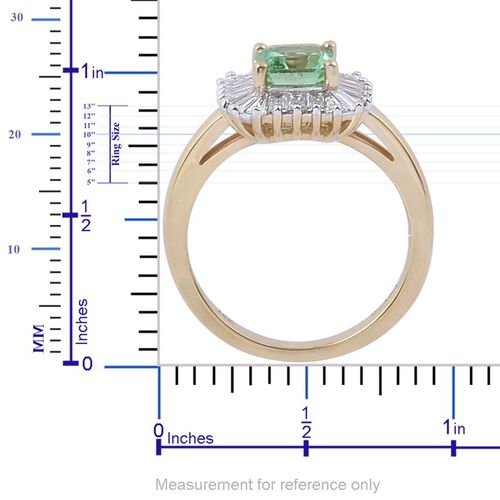 ILIANA 18K Y Gold Boyaca Colombian Emerald (Oct 0.90 Ct), Diamond Ring 1.500 Ct.