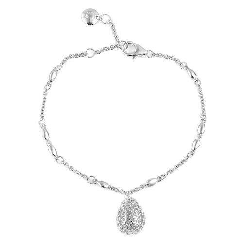 RACHEL GALLEY Rhodium Plated Sterling Silver Lattice Drop Bracelet (Size 8)