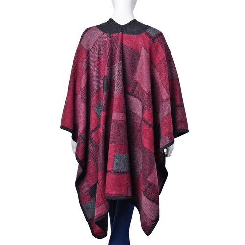 Red and Black Colour Geomatric Pattern Poncho (Size 123x76 Cm)