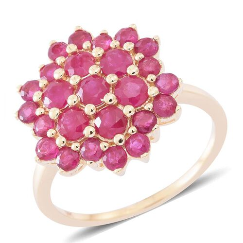 9K Y Gold AA Burmese Ruby (Rnd) Floral Ring 3.250 Ct.