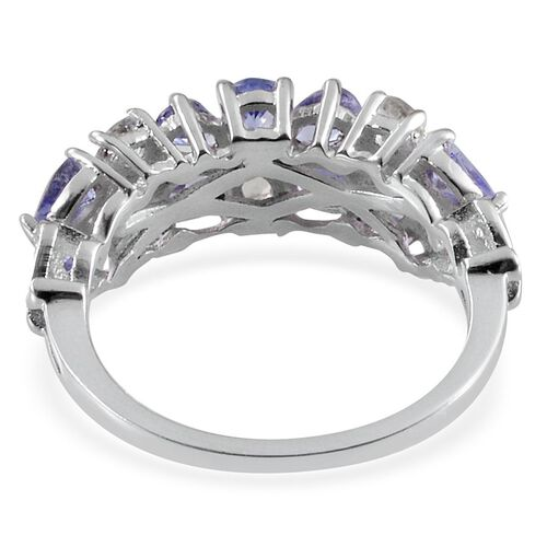 Tanzanite (Pear), White Topaz Ring in Platinum Overlay Sterling Silver 1.650 Ct.