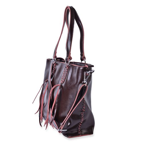 Genuine Leather Coffee Colour Tote Bag with External Zipper Pocket with Tassels, Adjustable and Removable Shoulder Strap (Size 40x32x28x11 Cm)