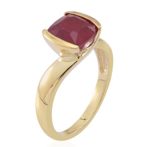 African Ruby (Cush) Solitaire Ring in 14K Gold Overlay Sterling Silver 3.000 Ct.