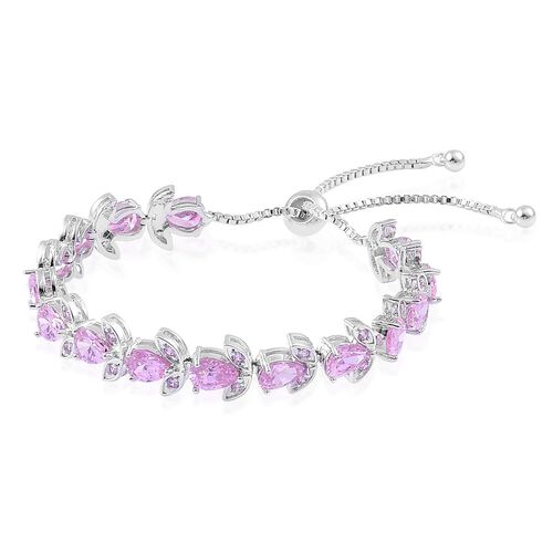 AAA Simulated Pink Sapphire Adjustable Bracelet (Size 6.5-9) in Silver Tone