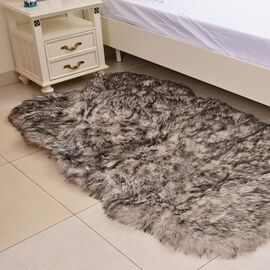 Supersoft Extra-Faux Sheep Skin Rug in Black and White Colour (Size 180x100 Cm)