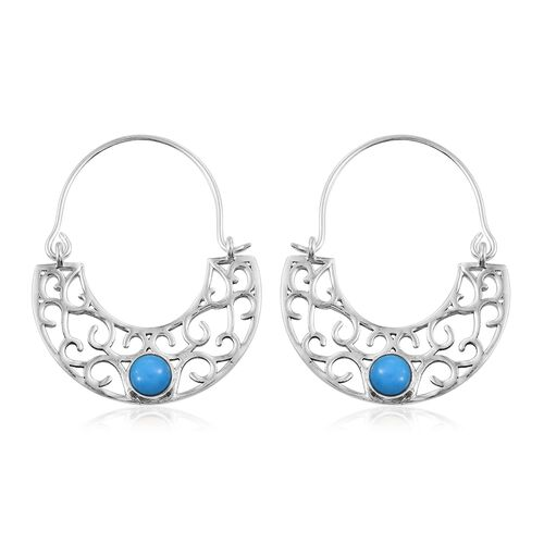Designer Inspired-Arizona Sleeping Beauty Turquoise (Rnd) Filigree Hoop Earrings (with Clasp) in Sterling Silver 1.00 Cts.