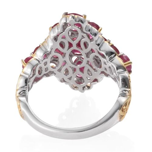 African Ruby (Ovl) Ring in Platinum and Yellow Gold Overlay Sterling Silver 5.750 Ct.