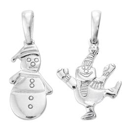 Set of 2 Snowman Silver Charm Pendant in Platinum Overlay, Silver wt 3.46 Gms.