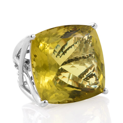 Natural Green Gold Quartz (Cush), Black Diamond Ring in Platinum Overlay Sterling Silver 70.500 Ct.