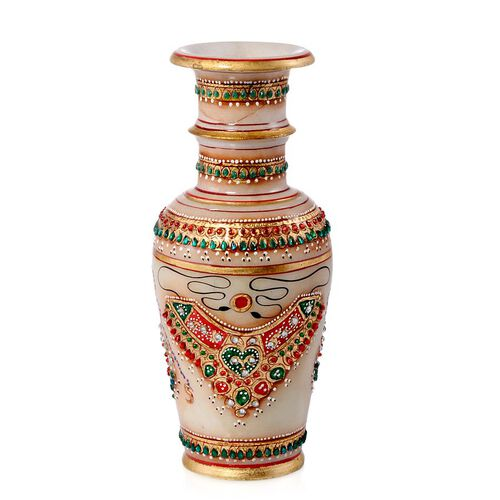 Home Decor - Marble Flower Vase With Beautiful Miniature Painting All Around (Size 6)