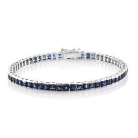 9K White Gold 9 Carat Kanchanaburi Blue Sapphire (Sqr) Tennis Bracelet (Size 7.5)