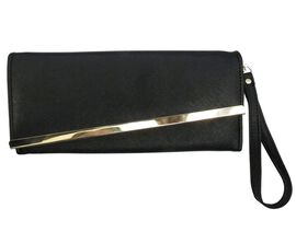 Gold Bar Jade Black Colour Long Wallet (Size 19x10 Cm)
