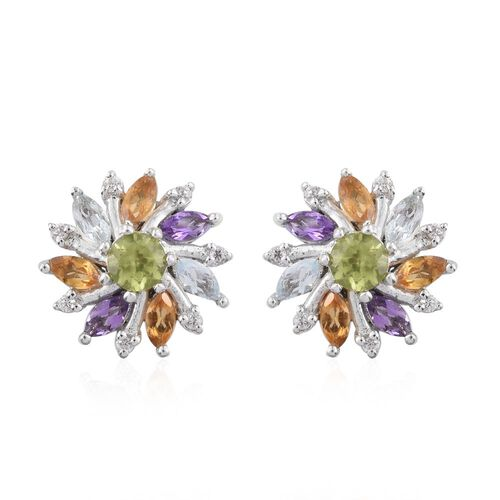 Hebei Peridot (Rnd), Amethyst, Sky Blue Topaz, Citrine and Natural Cambodian Zircon Floral Stud Earrings (with Push Back) in Platinum Overlay Sterling Silver 1.550 Ct.
