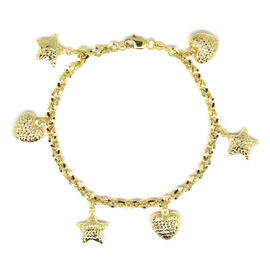 Designer Inspired- 9K Yellow Gold Heart and Star Charm Bracelet (Size 7.5), Gold wt 4.59 Gms.