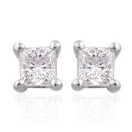 RHAPSODY 950 Platinum 0.25 Carat Princess Cut Diamond Stud Earrings (with Screw Back) VS E-F IGI Certified