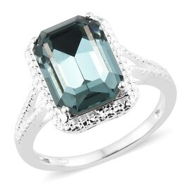 J Francis Crystal from Swarovski - Indian Sapphire Crystal (Oct) Solitaire Ring in Sterling Silver, Silver wt 3.40 Gms.