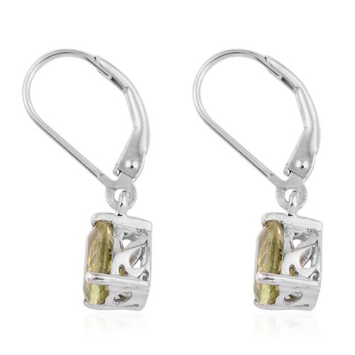Natural Canary Apatite (Pear) Lever Back Earrings in Platinum Overlay Sterling Silver 2.250 Ct.