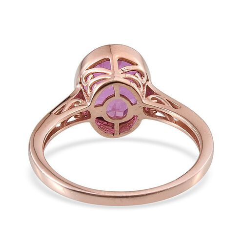Kunzite Colour Quartz (Ovl) Solitaire Ring in Rose Gold Overlay Sterling Silver 4.000 Ct.