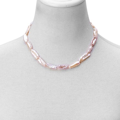 Multi Colour Keshi Pearl Necklace (Size 18 with 2 inch Extender) and Stretchable Bracelet (Size 7.50) in Rhodium Plated Sterling Silver