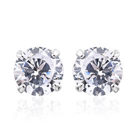 9K White Gold 1 Carat Natural Cambodian Zircon Solitaire Stud Earrings (with Push Back)