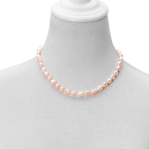 Fresh Water Peach Pearl (9-10mm) Necklace (Size 18 with 2 inch Extender) in Rhodium Plated Sterling Silver