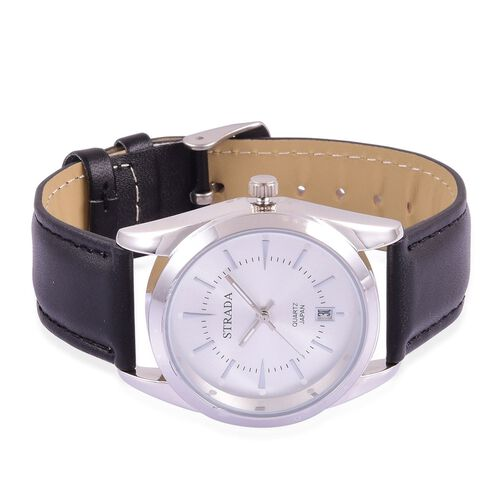 STRADA Japanese Movement Silver Dial Water Resistant Watch in Silver Tone with Stainless Steel Back and Black Strap