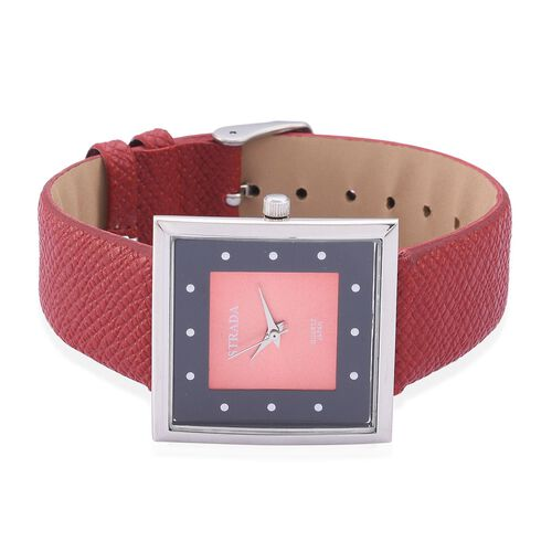 STRADA Japanese Movement Red and Black Dial Water Resistant Watch in Silver Tone with Stainless Steel Back and Grain Pattern Red Colour Strap