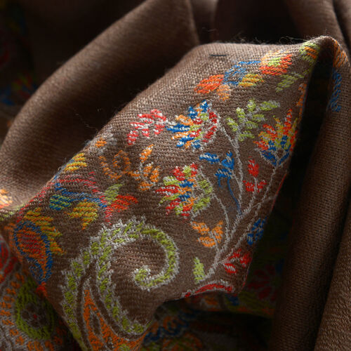 Designer Inspired 100% Merino Jacquard Weaving Wool Multi Colour Paisley Embroidered Chocolate Colour Scarf (Size 200x70 cm)