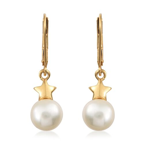 Fresh Water Pearl (8mm) Star and Moon Pendant and Lever Back Earrings in Gold Plated Silver